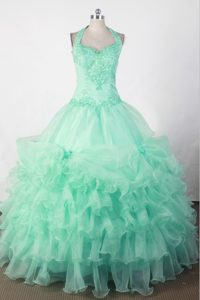 Sweetheart Halter Mint Green Quinceanera Gown with Beading and Appliques