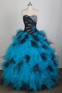 Sweetheart Black and Blue Beaded Quinceanera Dresses Gowns