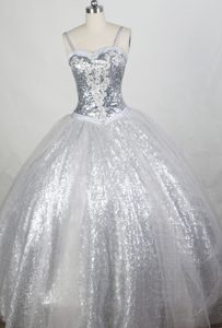 Sequin Sweetheart Ball gown Straps Dress For Quinceanera in Silver