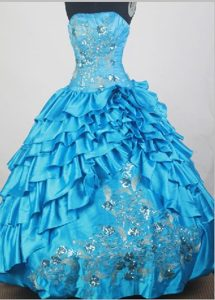 Embroidery and Beading Ruffles Strapless Aqua Blue Dresses For 15
