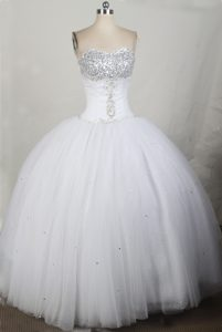 Beading Ball Gown Sweetheart Quinceanera Dress in White at Ica