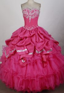 Beading and Appliques Sweet 15 Dresses with Sweetheart Pick-ups