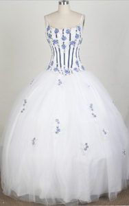 A-Line Straps Beading and Appliques White Quinceanera Dresses