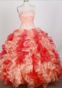Beaded Sweetheart Quinceanera Dresses in Orange with Ruffles