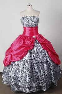 Leopard Print Strapless Floor-length Hot pink Quinceanera Gowns Dresses