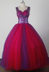 Purple Sequin Sweetheart Straps Red Dresses For a Quince in Cusco