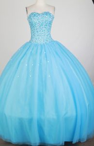 Beading Strapless Floor-length Baby Blue Quinceanera Dress