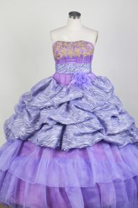 Strapless Zebra and Lavender Quinceanera Dress with Appliques