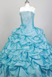 Ruffled Strapless Baby Blue Quinceanera Dresses with Beadings