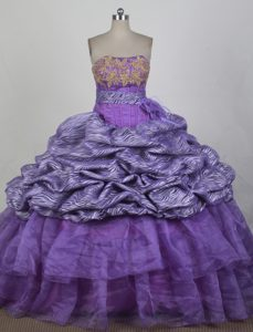 Purple Strapless Floor-length Embroidery Zebra Quinceanera Dress
