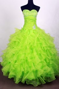 Lime Green Beading Sweetheart Ruffled Quinceanera Gown Dresses