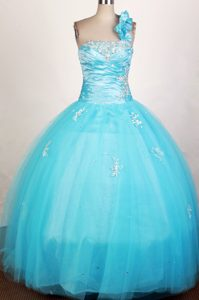 Floral One Shoulder Strapless Light Blue Beaded Quinceanera Dress