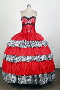 Sweetheart Red and Zebra Quinceanera Dress with Appliques and Ruffles