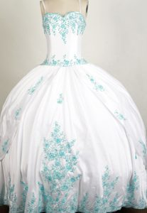 Appliques Straps Beading Cool Back White Quinceanera Gown Dresses