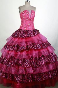 Zebra Print Appliques Beading Strapless Layered Quinceanera Dress
