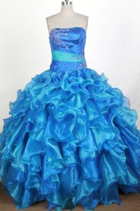 Ruched Strapless Ruffled Appliques Royal Blue Quinceanera Dresses