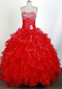 Brand New Ruffles Beading Sweetheart Red Quinceanera Dresses Gown