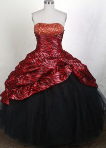 Animal Zebra Fabric Strapless Beading Multi-color Quinceanera Gowns