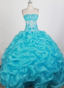 Beading Strapless Aqua Blue Quinceanera Dress with Pick Up and Ruche