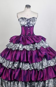 Zebra Print Sweetheart Embroidery Beading Layers Quinceanera Dress