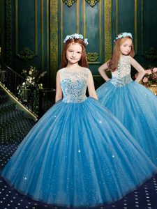 Trendy Clasp Handle Scoop Sleeveless Little Girl Pageant Dress Floor Length Appliques Blue Tulle