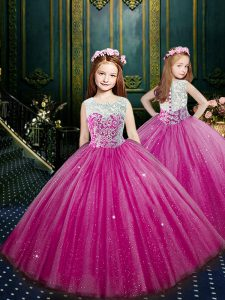 Tulle Scoop Sleeveless Clasp Handle Beading and Appliques Pageant Dresses in Eggplant Purple
