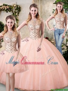 Scoop Peach Ball Gowns Beading Quinceanera Dresses Lace Up Tulle Sleeveless Floor Length