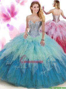 Affordable Multi-color Lace Up Sweetheart Beading and Ruffles 15 Quinceanera Dress Tulle Sleeveless