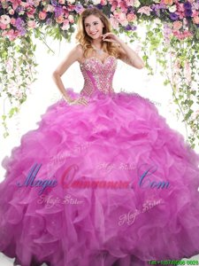 Lilac Organza Lace Up Quinceanera Dresses Sleeveless Floor Length Beading and Ruffles