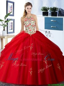 Sweet Halter Top Tulle Sleeveless Floor Length Vestidos de Quinceanera and Embroidery and Pick Ups