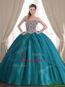 Flare Teal Tulle Lace Up Sweetheart Sleeveless With Train Sweet 16 Dresses Brush Train Beading