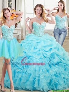 Cute Three Piece Sleeveless Lace Up Floor Length Beading and Ruffles and Pick Ups Ball Gown Prom Dress