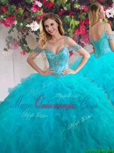 Glamorous Off the Shoulder Floor Length Ball Gowns Sleeveless Teal Ball Gown Prom Dress Lace Up