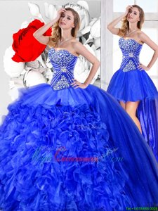 Low Price Three Piece Blue Sleeveless Floor Length Beading and Ruffles Lace Up 15 Quinceanera Dress
