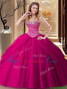 Floor Length Lace Up Quinceanera Dresses Fuchsia and In for Military Ball and Sweet 16 and Quinceanera with Beading
