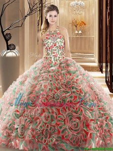 Custom Fit Sleeveless Fabric With Rolling Flowers Brush Train Criss Cross 15 Quinceanera Dress in Multi-color for with Ruffles and Pattern