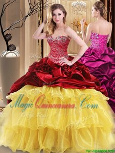 Low Price Red and Yellow Sweetheart Lace Up Beading and Ruffles Sweet 16 Dress Sleeveless