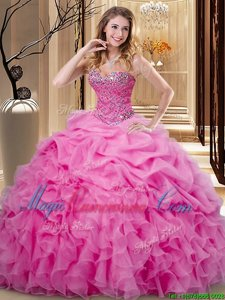 Pick Ups Rose Pink Sleeveless Organza Lace Up Quince Ball Gowns for Military Ball and Sweet 16 and Quinceanera
