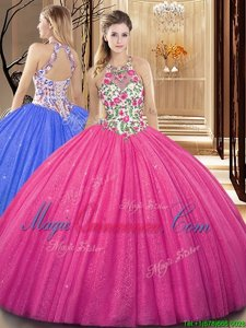 Fabulous Hot Pink Sweet 16 Dresses Military Ball and Sweet 16 and Quinceanera and For with Embroidery and Sequins Scoop Sleeveless Backless