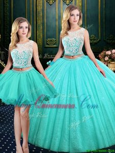 Custom Design Three Piece Scoop Sleeveless Vestidos de Quinceanera Floor Length Lace and Sequins Blue Tulle and Sequined