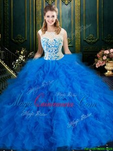 Low Price Ball Gowns Quinceanera Dress Blue Scoop Tulle Sleeveless Floor Length Zipper