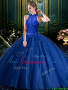 Stylish Navy Blue Ball Gown Prom Dress Military Ball and Sweet 16 and Quinceanera and For with Appliques High-neck Sleeveless Lace Up