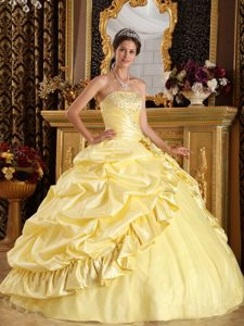 Yellow Ball Gown Strapless Quinceanera Dress with Beading Pick ups