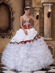 Ruffled and Beaded Quinceanera Gowns with Leopard Print for Cheap