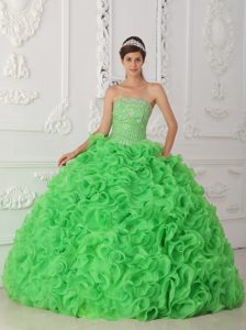Beading and Rolling Flowers Accent Green Strapless Quince Gowns