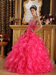 Chihuahua Mexico Beaded and Ruffled Hot Pink Quinceanera Gowns