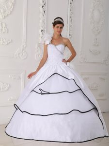 Flowers Accent One Shoulder White Quinceanera Gowns Black Frills