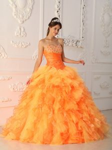 Beaded Orange Red Organza Quinceanera Gowns with Puffy Ruffles