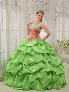 Toluca Mexico Spring Green Sweetheart Quinceanera Gowns Pick ups