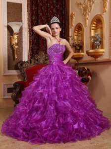 Beading Organza Ruffles Strapless Dresses 15 of Floor Length 2013